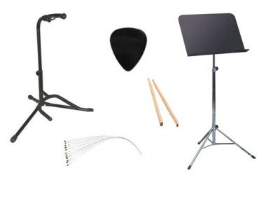 Music Stands, Guitar Stands, Drum Sticks